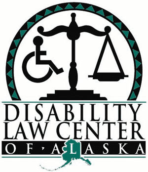 Logo of Disability Law Center of Alaska. It shows the scales of justice within a circle. One one side of the scale is a weight, on the other is a wheelchair user.