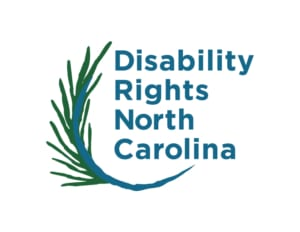 Disability Rights North Carolina logo with abstract pine sprig cupping text on the left.