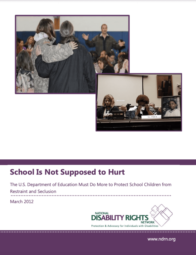 Report cover with images of parents speaking up for their students, one crying. Report text and NDRN logo at the bottom.